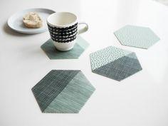 Polygon coasters - Mint set of 4