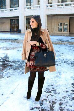 Missoni dress (love these) // Burberry toggle coat (similar) // Hue tights  BCBG boots (on sale!) // YSL cabas chyc bag  Michael Kors watch // av max bracelet // Jennifer Fisher ring