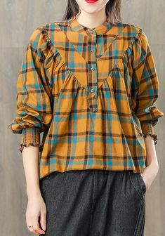 diy cotton clothes yellow For Women boutique Women Spring Vintage Pleated Plaid Pullover Shirt Stylish Dresses For Girls, Trendy Clothes For Women, Designer Kurtis, Ladies Boutique, Boutique Clothing, Golf Clothing, Pullover Shirt, Diy Vetement, Designs For Dresses
