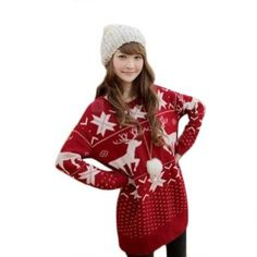 Asoidchi Women Girls Deer Maple Leaf Deer Jubilant Red Sweater  asoidchi $15.60
