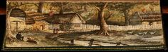 Fore-edge paintings: 'Poems by the late William Cowper, Esq., v.1', 1820, by William Cowper -- A View of Olney