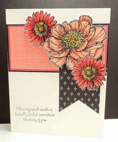 Stamps At Play: Thinking of You Blooms Watercolor Tattoos, Watercolor Cards, Cricut Cards, Stampin Up Cards, Alcohol Markers, Stamping Up, Cool Cards, Flower Cards, Card Templates