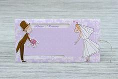 Invitatie de nunta lila cu un mire, o mireasa si... un pupic Wedding Ideas, Cover, Invitations, Boyfriends, Wedding, Wedding Ceremony Ideas