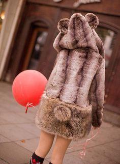 Lovely Bear Hooded Fluffy Faux Fur Coat