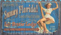 """Retro Sunny Florida Retro Art Sign - Vintage summer resort wood sign with a retro beach girl featured with """"Sunny Florida"""". Such wonderful colors and design to bring a beach cottage feel into your home. Beach Cottage Style, Beach Cottage Decor, Cottage Chic, Visit Florida, Florida Travel, Coastal Art, Coastal Style, Beach Signs, Retro Home Decor"""