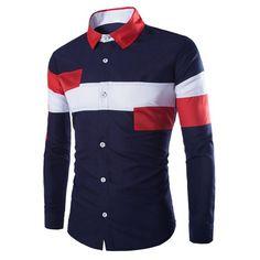 Trendy Slimming Shirt Collar Multicolor Irregular Splicing Long Sleeve Polyester Shirt For Men