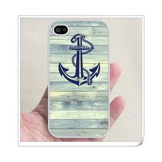 Anchor on wood iphone 5 RUBBER case -