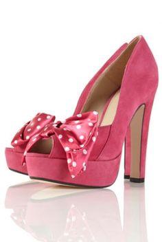 CHIQ | SINDY Fuchsia Polka Dot Bow Peep Toe Platform Sandalssindy