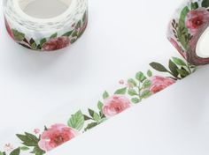 Camellia Red Floral Washi Tape 15mm/ Tea Rose by WashiStation