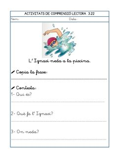 Dori dos 1112_mt005_r1_comprensio_lectora_3 Valencia, Worksheets, Teaching, Writing, School, Texts, Home, Reading Comprehension, Reading Comprehension