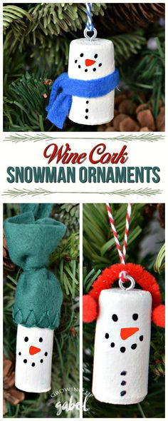 Make DIY wine cork snowman Christmas tree ornaments using old wine corks! Three variations on these cute wine cork Christmas ornaments! Great for kids to make for family and friends! (Diy Crafts For Christmas) Christmas Tree Decorations For Kids, Cork Christmas Trees, Christmas Crafts For Kids, Diy Christmas Ornaments, Christmas Snowman, Diy Christmas Gifts, Christmas Projects, Holiday Crafts, Snowman Ornaments
