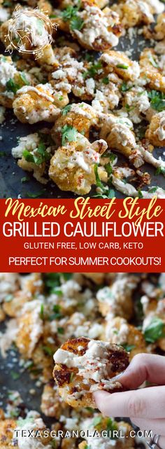 This Mexican Street Style Grilled Cauliflower is this ultimate keto and low carb cauliflower recipe! Grilled to caramel-ly perfection, drizzled with a garlicky crema and topped with salty Cotija cheese, this is Texas summertime keto comfort food at its best! Great side dish for your next BBQ! #keto #lowcarb #cauliflowerrecipe #LCHF #glutenfree