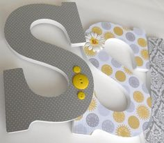 Yellow & Grey Custom Wooden Letters Personalized by LetterLuxe, $25.00