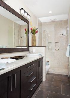 Long and Narrow guest bath eclectic bathroom - Small narrow bathroom remodel Bathroom Floor Tiles, Bathroom Renos, Bathroom Layout, Bathroom Ideas, Shower Tiles, Glass Shower, Bathroom Designs, Dark Cabinets Bathroom, Tile Layout
