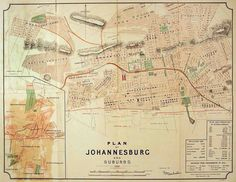 Map of Johannesburg Old Johannesburg map up to Large map of Johannesburg South Africa - Frame(s) not included Historical Maps, Historical Pictures, University Of The Witwatersrand, Library University, Johannesburg City, Vintage Maps, Antique Maps, Old Maps, African History