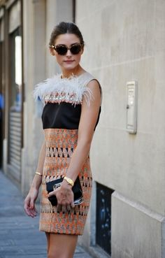 Olivia Palermo street style, love her printed mini dress