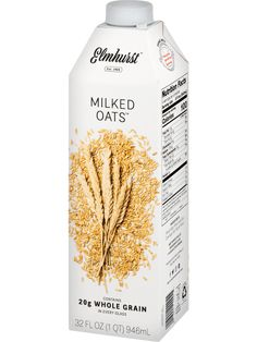 Fall in love with Elmhurst Milked Oats™. each glass of our oat milk is packed with of whole grains, with only five ingredients. Oats Recipes, Milk Recipes, Smoothie Recipes, Milk Packaging, Packaging Design, Oats Snacks, Milk Brands, Vegan Milk, Cooking