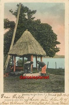 1908 Fiji Hand Tinted Arthur Mills Postcard Beating Native Drum Suva Melanesia | eBay