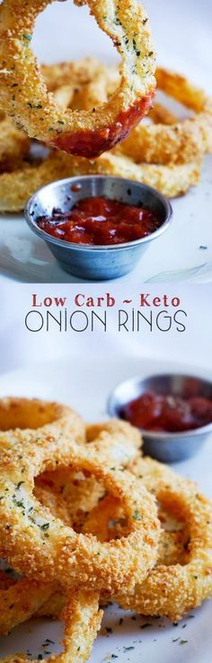 Low Carb Onion Rings coated with a tasty combo of pork rinds and parmesan cheese!