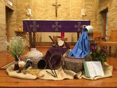 2018 Lenten altar display at St. Church Flower Arrangements, Church Flowers, Altar Flowers, Lent Decorations For Church, Altar Design, Feast Of Tabernacles, Holy Thursday, Church Stage Design, Easter Religious
