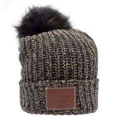 This pom beanie is knit out of cotton yarn in black and hemp colors. It  features a brown leather patch that is debossed with the Love Your Melon  logo and a ... 482071485081