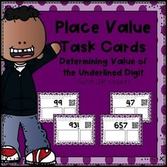 Looking for a fun and interactive way for students to practice working with place value?  On each task card, students are provided with a number that has one digit underlined.  Children are asked to write the place value of the underlined digit, as well as the value of that digit.Each task card also includes a QR code, making self-correcting fun and easy.
