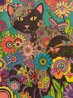 A page I colored out of Creative Cats by Marjorie Sarnat