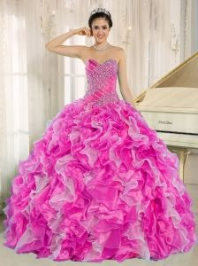 3b2de5fadd Hot Pink Beaded and Ruffles Custom Made For 2013 15 Quinceanera Sweet 15  Dresses