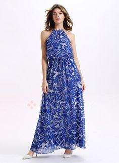 Dresses - $37.50 - Chiffon Floral Sleeveless Maxi Casual Dresses (1955099383)