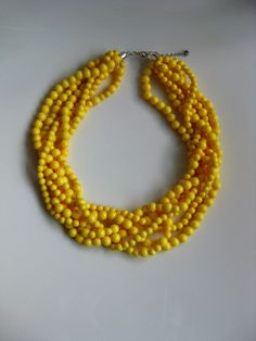 Multi Strand Necklace, Twisted Necklace, Yellow Necklace, Beaded Necklace. $28.00, via Etsy.