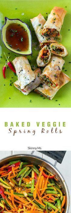 Vegetable Spring Rolls Baked Veggie Spring Rolls - incredible light meal option or appetizer for guests!Baked Veggie Spring Rolls - incredible light meal option or appetizer for guests! Veggie Dishes, Veggie Recipes, Asian Recipes, Appetizer Recipes, Vegetarian Recipes, Cooking Recipes, Healthy Recipes, Meal Recipes, Veggie Bake