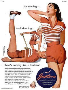 Jantzen for women, May, 1951 Life magazine, artist Pete Hawley Mode Vintage, Vintage Ads, Vintage Posters, Vintage Style, Vintage Images, 1940s Fashion, Vintage Fashion, Girls Football Boots, Surfer Girl Style