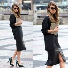 French Connection Uk Grey V Neck Sweater, Babaton Faux Leather Pencil Jax Skirt, Sigerson Morrison Hunter Green Pumps