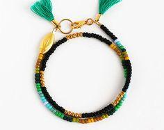 Friendship Bracelet Beaded Bracelet Double Tassel by feltlikepaper