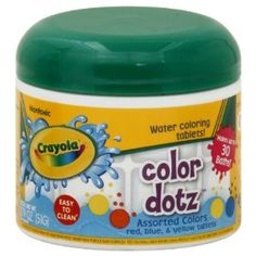 Crayola Bathtub Tints, 30 Tablets, Fizzy Water-Coloring Tablets. Make bath time colorful. Each jar features an assortment of red, blue and yellow bathtub tints. Watch as the water turns from ordinary into a vibrant and colorful bath before your eyes. The non-toxic formulation fizzes as it changes the color of the bath water.