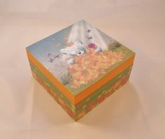 Cute Teddy Bear Decoupaged Wooden Box - Free P ONE DAY SALE £7.50