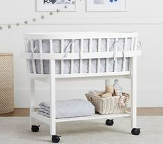 White gender neutral baby bassinet - 10 Modern, Stylish Baby Bassinets for Chic AF Mamas • The Trendiest Baby Cradles of 2020 • Chandeliers and Champagne