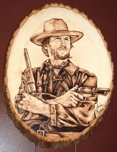 Clint Eastwood as Josey Wales   Pyrography Portrait   Wood Burning By Amber