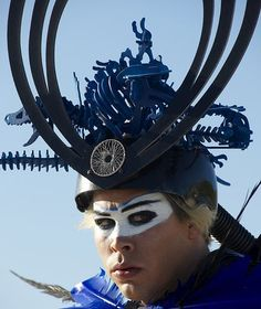 For a video shoot, Luke Steele, lead singer for Empire of the Sun, in his Emperor attire.