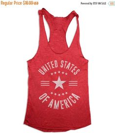 Memorial Day SALE 4th of July Tank Top - United States of America - Women's 4th of July - Tri Blend Racer Back Tank