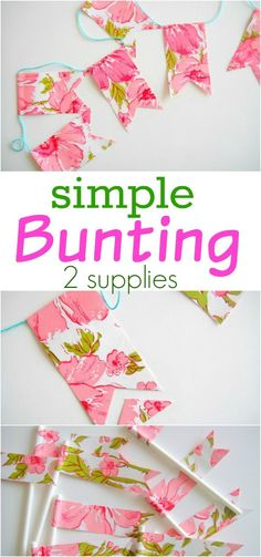 Make this Simple Bunting for a party decoration or to brighten any room in your home! Made with just 2 supplies, it's easy and inexpensive too! Be sure to save it by pinning to your Craft Board!