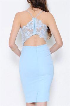 Charmed Lace Back Dress - Light Blue