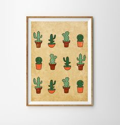 Cactus Print    * Designed by me  * Its printed professionally on a high quality paper (160gr) ( in a smoke-free environment ) * Will be sent to you