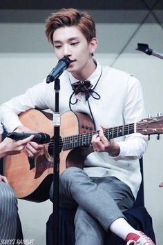{closed: Andy} I smile and I start to play Heaven by EXO on my guitar. I look around to see if anyone recognized it. No one so far.. I look up and see you, you looked like you recognized it. You walk up to me and I smile