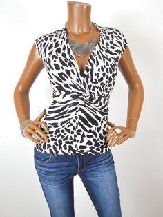 67413244fd4e JONES NY Womens Top M SEXY Shirt SILK Knit Low Cut Twist Sleeveless Black /White