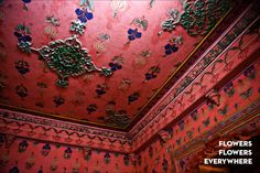 Photo by Magnus and Melis Bischofberger.  Floral patterns at City Palace Museum, Udaipur. India