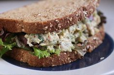 tuna salad with dijon and cilantro, on whole grain bread. great for mid-morning and/or mid-afternoon snack. you won't be able to eat it just once. Tuna Fish Sandwich, Tuna Fish Salad, Best Tuna Salad, Salad Sandwich, Sandwich Recipes, Bread Recipes, Tuna Recipes, Yogurt Recipes, Delicious Sandwiches
