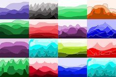 Value landscapes: examples of student work.  Students use computer software to represent tints and shades of color in aerial perspective of a landscape