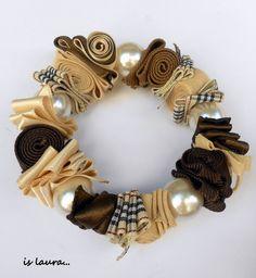 bracciale nastro e perle