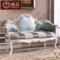 赫莎宫廷法式家具 欧式实木休闲沙发 皮布艺沙发 L5 高档休闲椅